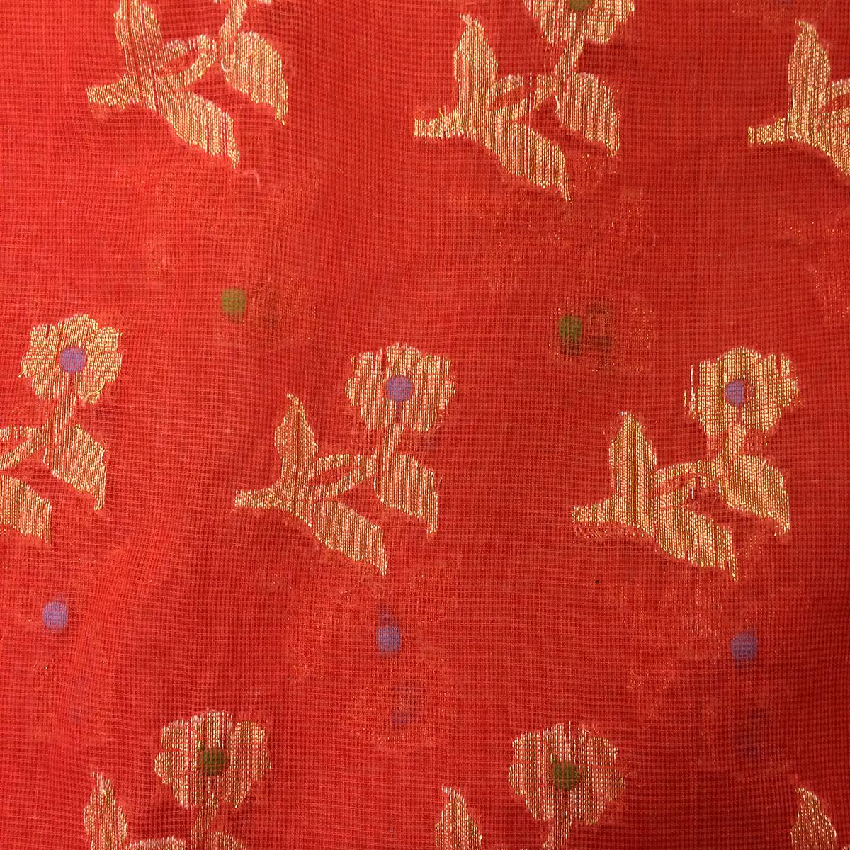 Red Floral Cotton Embroidery